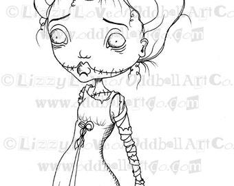 Digi Stamp Digital Instant Download Creepy Cute Big Eye Bride of Frankenstein Girl Image No. 78 by Lizzy Love