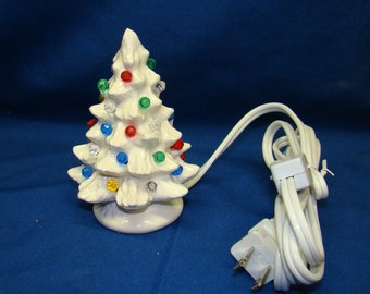 Handmade ceramic Christmas tree 5 inch high. white color
