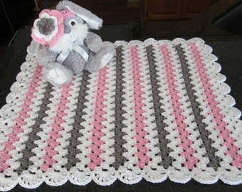 baby girl gift set crochet baby blanket with headband girls pink and gray blanket and headband READY TO SHIP