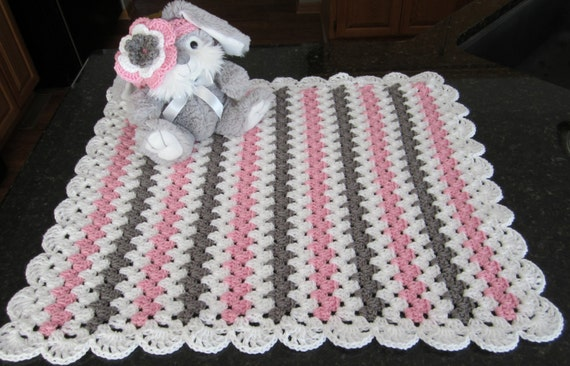 Baby Girl Gift Set Crochet Baby Blanket With Headband Girls