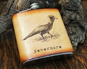 6oz Stainless Steel & Leather Hip Flask [Free Personalization] [Multicolor] [Crow]