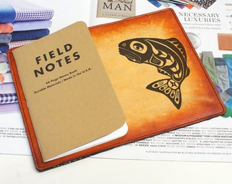 Field Notes Leather Cover - Tribal Fish - Customizable - Free Personalization