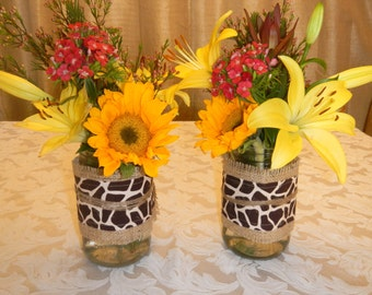 Burlap and Giraffe Mason Jar Wrap, Choose your Size and Number of Wraps, Mason Jar Decoration, Baby Shower, Party,  Wedding Decoration