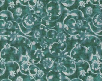 Blue Green Fabric Dark Green Fabric Green on Green Fabric Swirl Fabric Blender Fabric Cotton Quilting Fabric Sewing Supplies YacketUSA