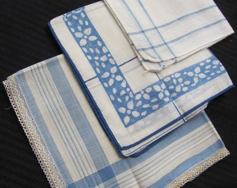 Lot of 3 Vintage Assorted White Blue Cotton Hankies