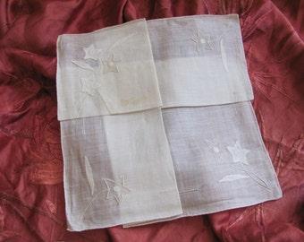 Beautiful Solid White Appliqued Drawn Cotton Hankie Handkerchief - Unused NOS