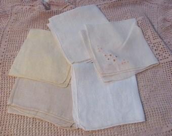 Hankies - Lot of 5 White Ivory Vintage Antique Handkerchief