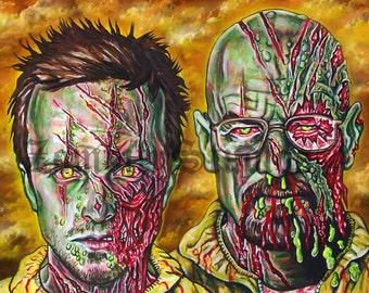 "Breaking Bad Zombie Poster, 11x16"" PRINT"