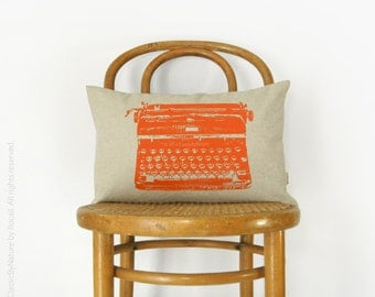 12x18 or 16x16 Personalized Typewriter Pillow Case | Mid Century Modern Custom Cushion Cover | Your Color, Fabric | Industrial Home Decor
