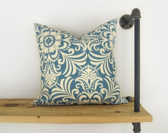 Blue Floral Outdoor Pillow | Patio Decor, Garden Decoration | Blue Denim and Beige Damask Outdoor Cushion Cover | 18x18 Throw Pillow Case