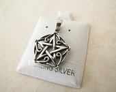 Vintage Pentagram/Pentacle Sterling Silver Pendant with celtic design