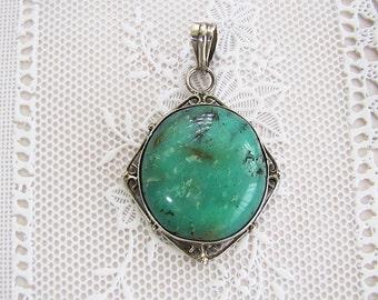 Estate Large oval Amazonite Ornate sterling silver pendant