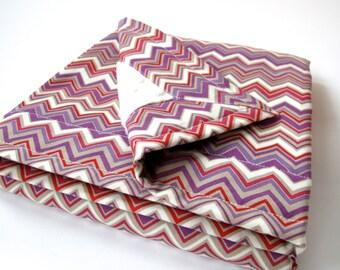 Purple Chevron Baby Girl Blanket - Zig Zag in Gypsy - Novella Collection by Valori Wells - Ivory Minky Dot Backing  - 26 x 30