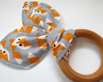 Organic Fox Teething Ring - Wooden Teething Ring With Cotton Bunny Ears - Fox in Gray by Cloud 9 Fabrics