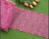 2 Yards Tulle Lace Trim Double Edges Scalloped Heart Embroidered Lace 7 Inches Wide
