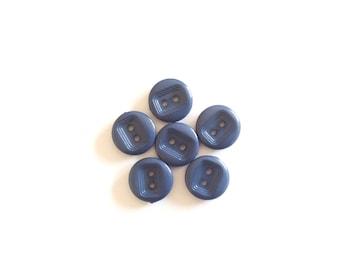 6 Blue Vintage Buttons, Blue Buttons, Plastic