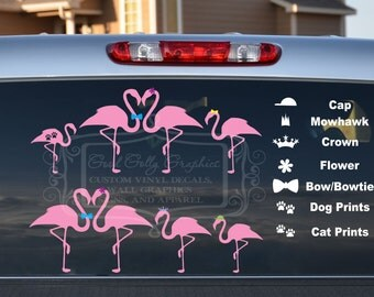 Flamingo family decal