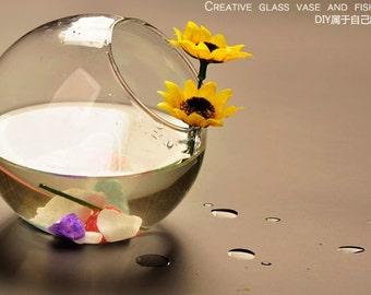 1 pcs  8x4.5cm  Creative  Transparent  Glass Terrarium