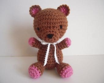 Crocheted Stuffed Amigurumi Teddy Bear Brown/Pink