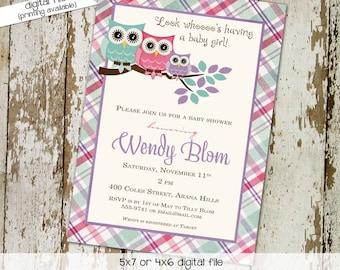 owl baby shower invitation owl first birthday baby girl shower Gender reveal invitation diaper christening (item 139) shabby chic invitation