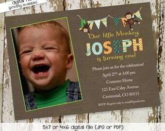 monkey birthday invitation party bash baby boy shower bunting banner baptism christening baby sprinkle (item 209) shabby chic invitations