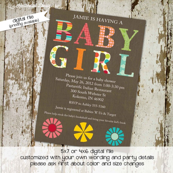 baby girl shower invitation floral baby sprinkle sip and see diaper couples twin stock the library baptism item 138 shabby chic invitations