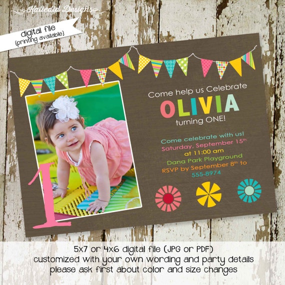Little girl 1st birthday invitation sonogram pregnancy announcement floral chic invite bunting banner rainbow co-ed baby 273 Katiedid Cards