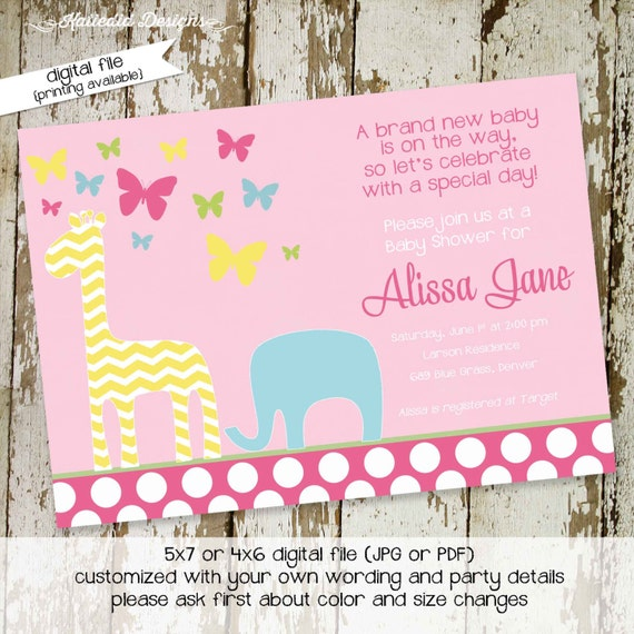 safari baby shower invitation elephant theme baby shower rustic baby girl shower diaper wipe brunch butterfly giraffe 1358 Katiedid Designs