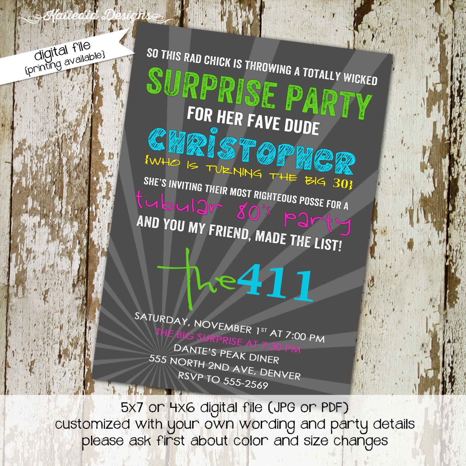 s birthday invitation Totally awesome s party retro neon