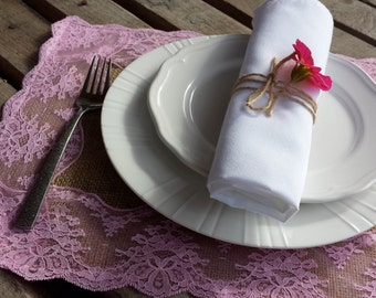 Pink burlap and lace place-mats - set of two - Mr.  Mrs. Place mats