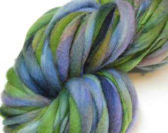 Super Duper Bulky Handspun Yarn, for Briar Pattern, Custom Spun and Dyed, 82 Yards, 9.1 Ounces, Blues, Greens, Forest, Thick and Thin