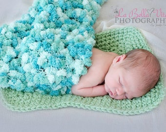 1 Skein Pom-Pom blanket PATTERN, Newborn Prop, Knit Photography Props, Soft Wrap, Textured, Teal