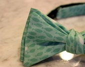 Teal Fish Bow Tie - clip on, pre-tied with strap or self tying - wedding ties - groomemen gift, fathers day gift, beach wedding