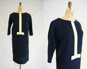 Vintage 1960s Dress / Mod Dress / Blue