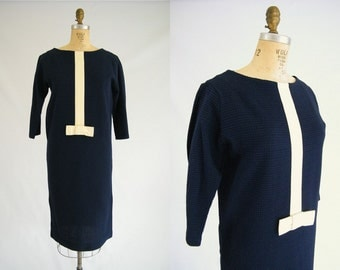 Vintage 1960s Dress / Mod Dress / Blue / Large