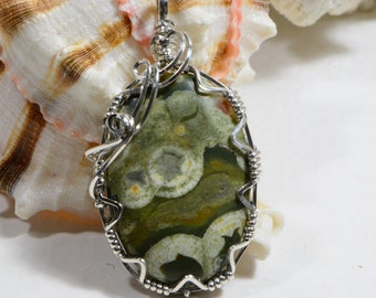Rainforest Jasper Wire wrapped Pendant