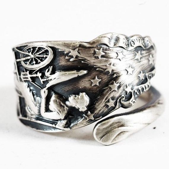 American Flag Betsy Ross Spoon Ring In Sterling Silver