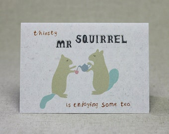 Squirrel Tea Birthday Card