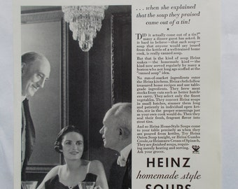Vintage 1930s Heinze Soups Ad- from a 1935 National Geographic Magazine-Black & White Advertisements on back