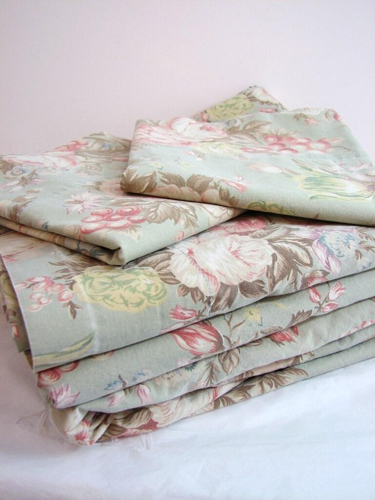 vintage ralph lauren charlotte queen 4 pc sheet set flat. Black Bedroom Furniture Sets. Home Design Ideas