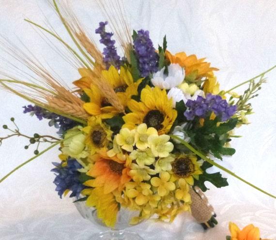 Bouquet de mariage rustique fait de bl et de tournesol - Bouquet de tournesol ...