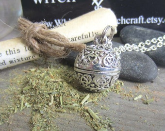 wiccan jewelry happiness spell peace amulet prayer box necklace locket secret compartment pagan wicca metaphysics healing medieval herbs
