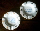 Vintage French quote ashtrays ash trays circa 1970's / English Shop