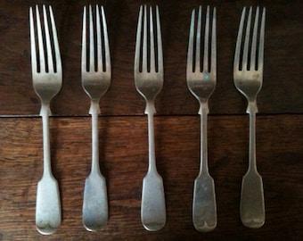 Antique Luncheon Dinner Forks Cutlery Silverware Flatware circa 1900's / English Shop