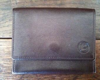 Vintage English Brown Leather Wallet circa 1970-80's / English Shop