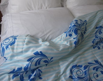 Custom Duvet cover US UK AU Cal King Queen Double Full Pastel turquoise royal blue navy stripe floral cotton sateen Turkey Istanbul style