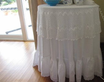 round Ruffled tablecloth eyelet lace Shabby Chic French country Home - XL 120 and up Wedding table cloth white ivory rectangle custom