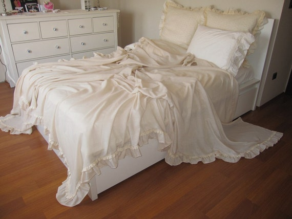 Shabby chic Ruffled bedding bed cover solid Champagne cream