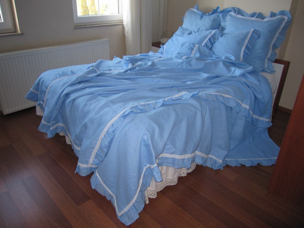 Blue washed linen duvet cover queen size ruffled linen for Frilly bedspreads