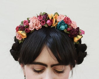 Boho Frida Kahlo Flower Crown - Fiesta, Floral Crown, Flower Headband, Frida Flower Headpiece, Costume, Mexican Flower Headband, Free People